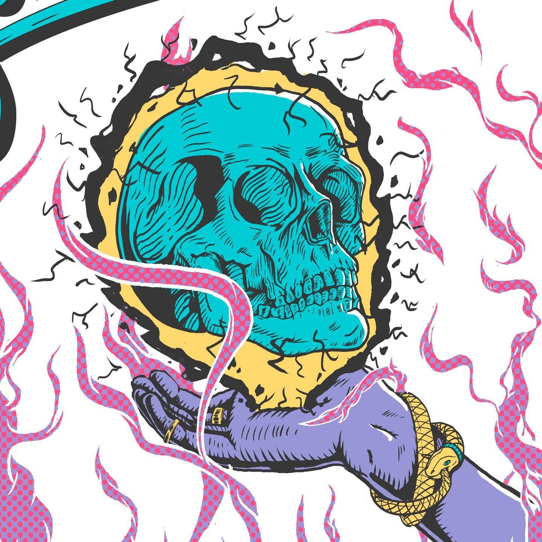 El Rojo Stoner Summer Poster Detail Skull