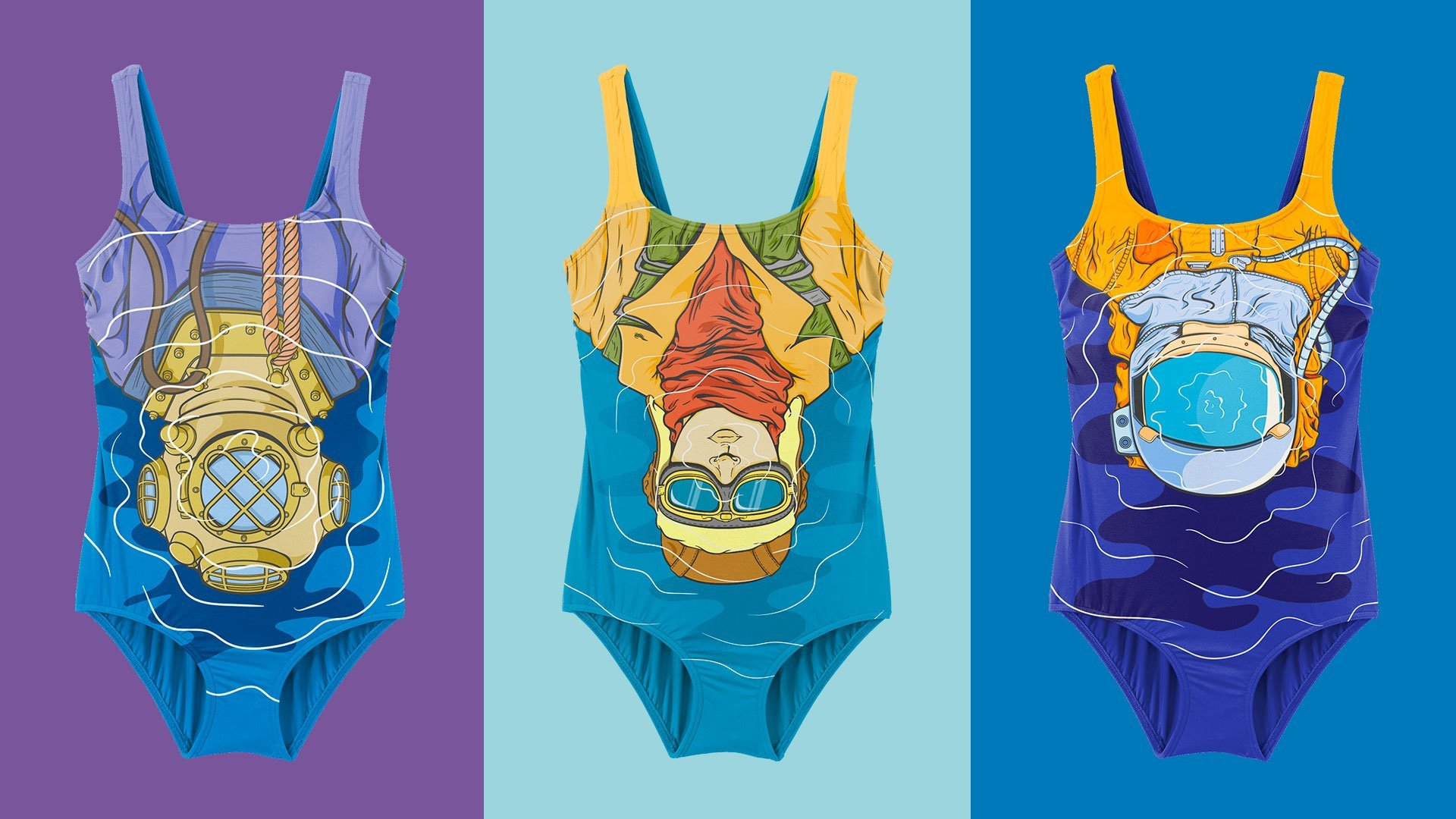 A set of three swimsuits for women